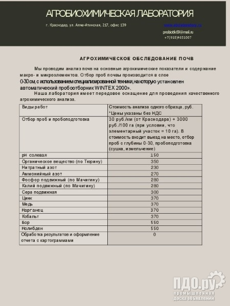 Услуги по агробиохимическому обследованию почвы