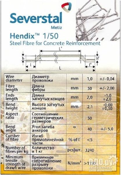 Hendix, Hendix Prime. Фибра стальная анкерная, проволочная